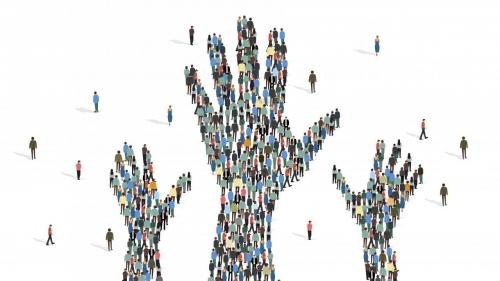 Hands made of people